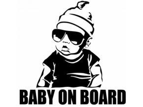 Dekorační samolepka na auto Baby on board- v černé, bílé