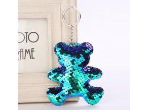 Přívěsek klíčenka glitrový medvídek, více barev- vhodné i jako dárek