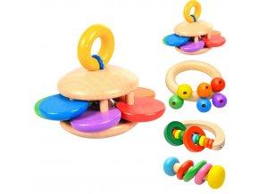 Hračky- Dřevěné chrastítko, zvonkohra pro miminka, děti- 4 druhy