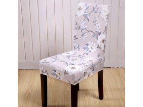 Univerzální elastický potah na židli- béžový květ