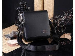 Pánská kožená taška přes rameno 17*19*7 cm- hnědá, černá