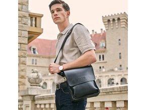 Pánská kožená taška přes rameno 21*24*7cm- hnědá, černá