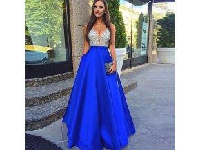 Dlouhé plesové společenské modré šaty na svatbu, zvláštní příležitost