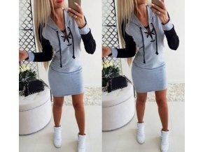 Dámské sportovní letní šaty s kapucí a šněrovacím výstřihem- šedé