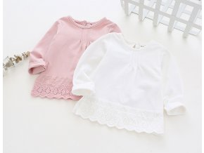 Dívčí tričko, blůza s krajkovým lemem- bílá, růžová