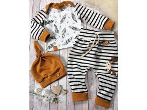 Dětské oblečení- dětský set, tričko, kalhoty a čepička Peříčka