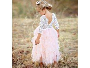 Společenské plesové šaty pro dívky krajkové- růžové, fialové
