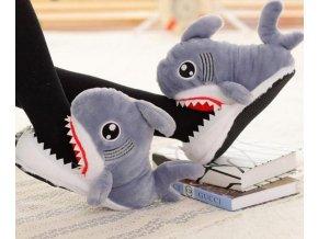 Plyšové papuče Žralok- dvě barvy
