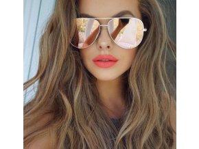 Sluneční brýle zrcadlovky zlatorůžové