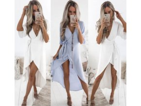 Dámské zavinovací letní pohodlné šaty- bílé, modré
