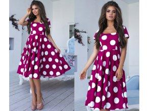 Dámské luxusní retro puntíkaté plesové šaty