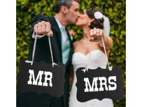 Svatební dekorace- Set Mr. a MRS. rekvizita do fotokoutku, na svatbu, výročí- hnědá a černá