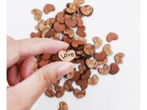 Dekorace dřevěná srdce na svatbu, výročí 100 ks