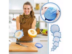 Silikonová napínací víčka na potraviny, kuchyňské nádobí 6 ks