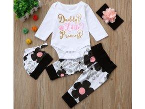 Dětské oblečení- 4 dílný dětský set- body, kalhoty, čepička a čelenka Daddys Little Princess