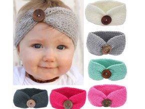 Dětská pletená čelenka s knoflíkem- více barev