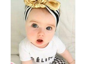 Dětská elastická čelenka se zlatou mašlí pro dívky od 0-6 let