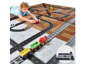Samolepky- samolepící autodráha, silnice, kolejiště na podlahu