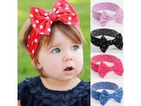 Dětská čelenka s puntíky a mašlí pro dívky od 3m-4 let- více barev