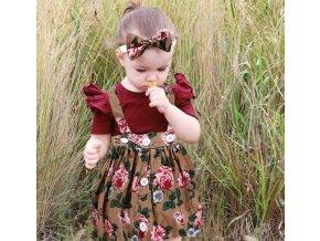 Dětské oblečení- set body, sukně s laclem a čelenka