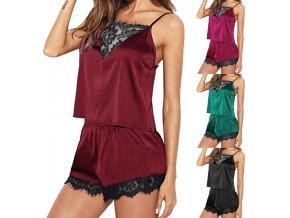 Dámské krajkové noční pyžamo- košilka, kraťasy- více barev