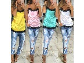 Stylové letní tričko tílko s krajkou více barev