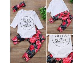 Dětské oblečení- 3 dílný dětský set- body, kalhoty a čelenka Little sister