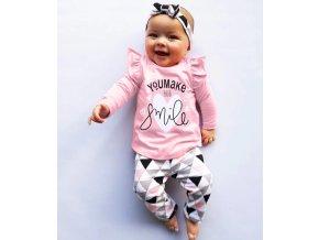 Dětské oblečení- dětský set, tričko, tepláky, čelenka You make me smile