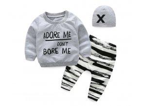 Dětské oblečení- dětský set, mikina, tepláky, čepice Adore me don´t bore me
