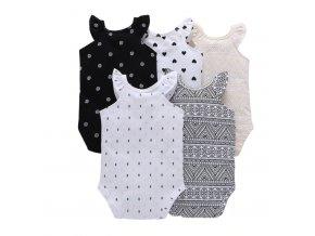 Dětské oblečení- Set 5 ks dětské body s volánky pro holčičky