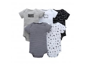 Dětské oblečení- Set 5 ks dětské body s krátkým rukávem pro chlapce