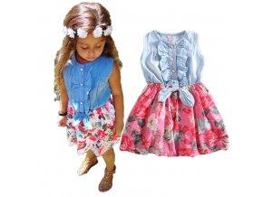 Dětské oblečení- dívčí letní džínové šaty s mašlí a květy- dvě barvy