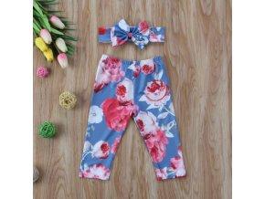 Dětské květované kalhoty legíny s čelenkou- dvě barvy