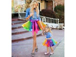 Letní barevná veselá tutu sukně pro maminku a dceru