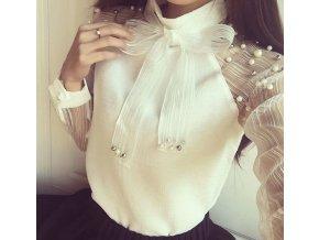 Dámská elegantní společenská bílá halenka s perlami NEW
