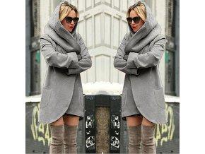 Dámský teplý podzimní šedý kardigan s kapucí až 4XL