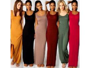 Letní jednoduché dlouhé šaty až 2XL- více barev
