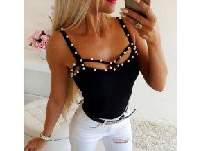 Dámské top černé tílko tričko s perlami až 2XL