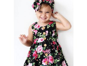 Dětské dívčí letní set šaty kytkované s čelenkou