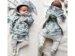 Novorozenecký set- mikina s dlouhými oušky a tepláky