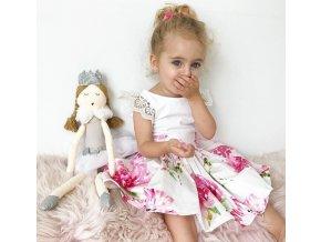 Dívčí letní květované šaty s krajkovými rukávy