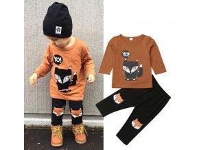 Dětský set tričko s dlouhým rukávem a tepláky Liška