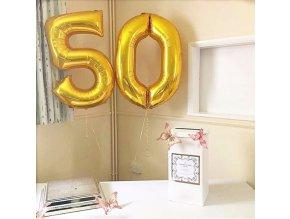 Fóliové balonky s desetinnými čísly zlaté vhodné na narozeniny, párty