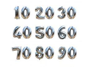 Fóliové balonky s desetinnými čísly stříbrné vhodné na narozeniny, párty
