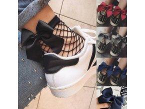Pro ženy- síťované kotníkové ponožky s mašlí více barev