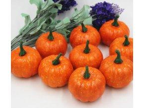 Podzimní dekorace- umělá oranžová dýně na halloween