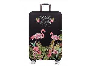 Elastický potah na kufr, zavazadlo čtyři velikosti Holiday Plameňák