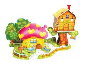 Hračky- 3D Puzzle Zvířecí vesnička- Dárek k Vánocům