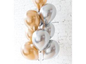 10 Ks mix balonků zlatostříbrné na párty, narozeniny