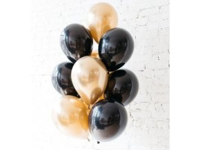 10 Ks mix balonků černozlaté na párty, narozeniny